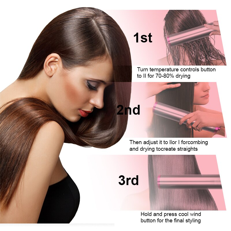 Een Stap Haar Föhn Hot Air Brush Snelle Föhn 4 In1 Negatieve Ionen Haar Salon Volumizer Stijltang Curler styler Kam enlarge