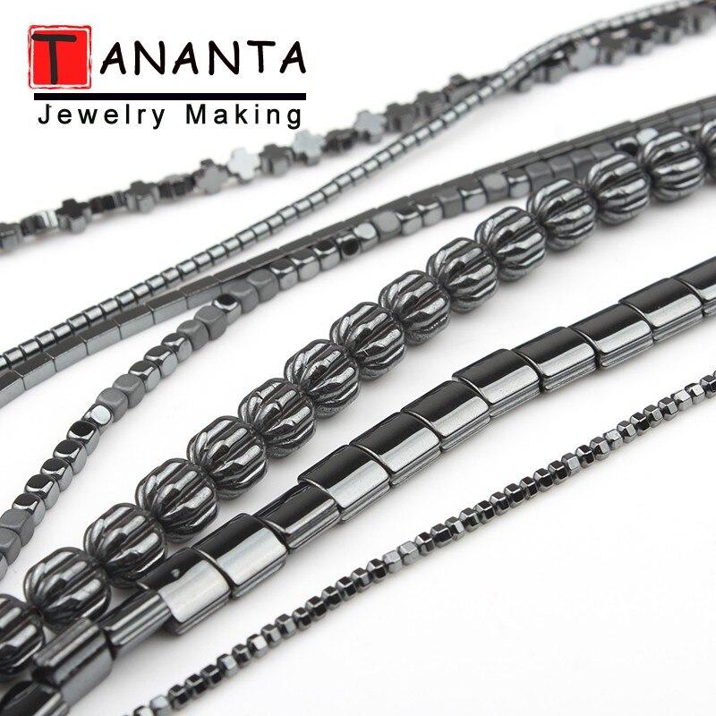 Negro Hematita natural cuentas de cruz y corazón cilindro cuadrado de piedra redonda suelta perlas para fabricación de joyería DIY pulsera collar de 15 pulgadas