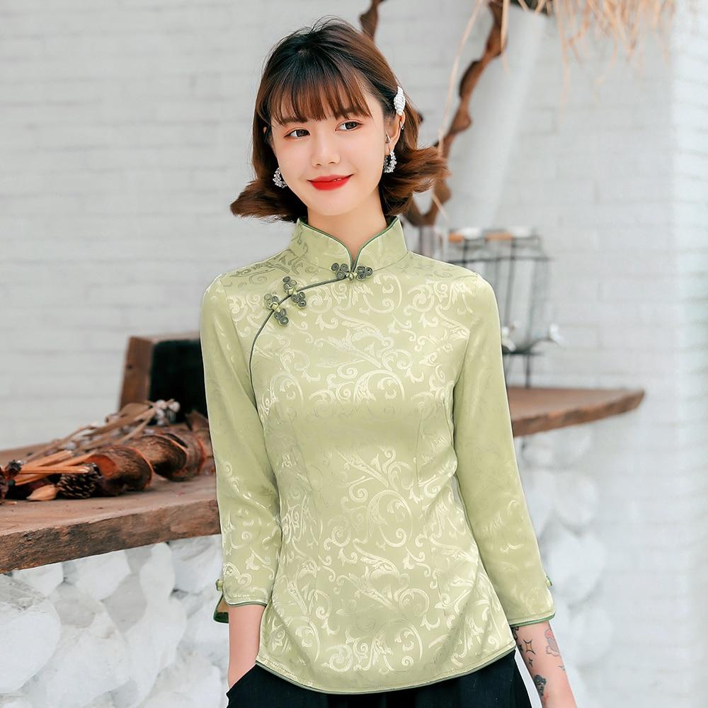 Primavera algodão magro cheongsam topos chinês tradicional mandarim colar tang casaco de cetim macio estilo chinês camisa mais tamanho