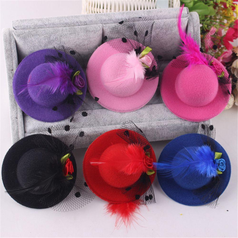 Chapéu bonito em forma de flor adorno meninas chapéu de penas grampos de cabelo senhoras grampos de cabelo