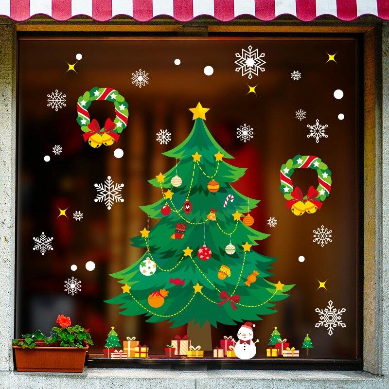 [Shijuekongjian] pegatinas de cristal de Navidad DIY vinilos decorativos de pared de árbol para casa Sala dormitorio tienda ventana decoración del Festival