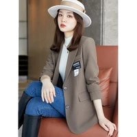 high quality pure color casual suit jacket 2021 new autumn and winter fashion korean women loose suit jacket women