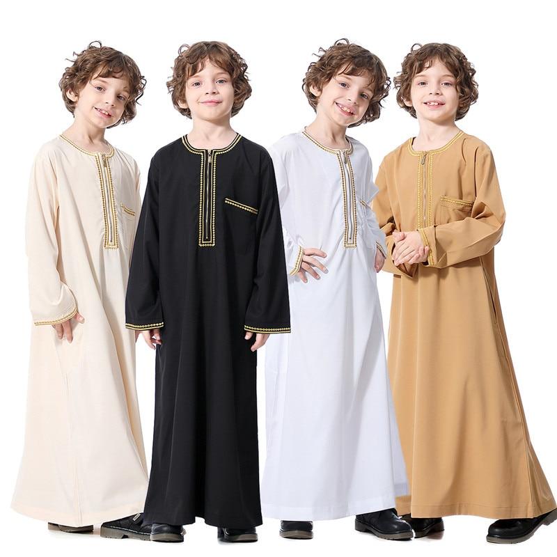 Мусульманский, для мужчин, детей, длинное платье Тауб для мужчин Камыше ребенок мальчик, мужская одежда jubah мусульманских для мужчин; Удобна...