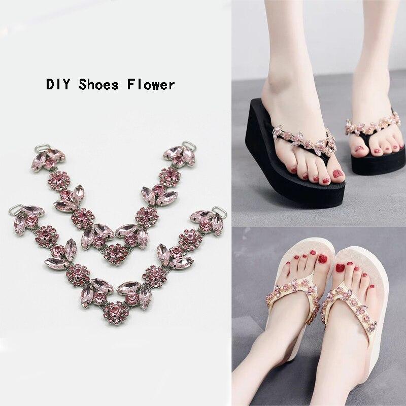 2020New 20Pair Pink glass Rhinestone shoes Connectors/buckle chain for DIY flip-flops shoes flower decorative accessories LP225