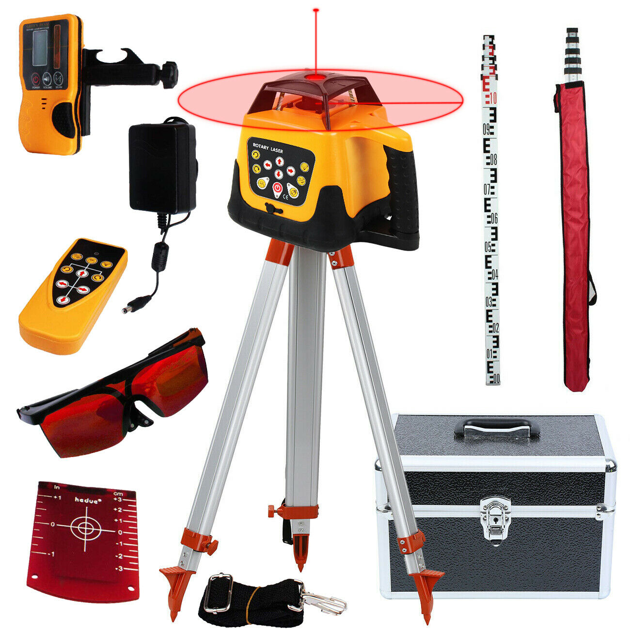 brand new 1 65m aluminum tripod 5m 5 section dumpy laser level staff for rotary laser level Honhill Self-leveling Rotary Laser Level 360 degree 500m +1.65M Laser Level Tripod+5M Measuring stick Red Beam