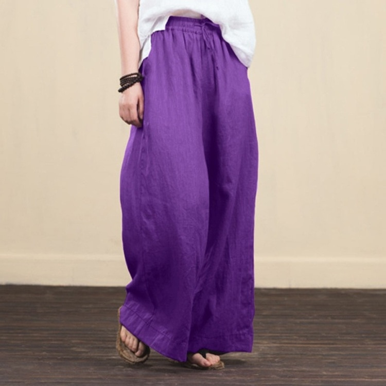 Wide Leg Pants Linen Black Pants Women Fashion 2021 Summer Plus Size Trousers Women Clothing Harajuku