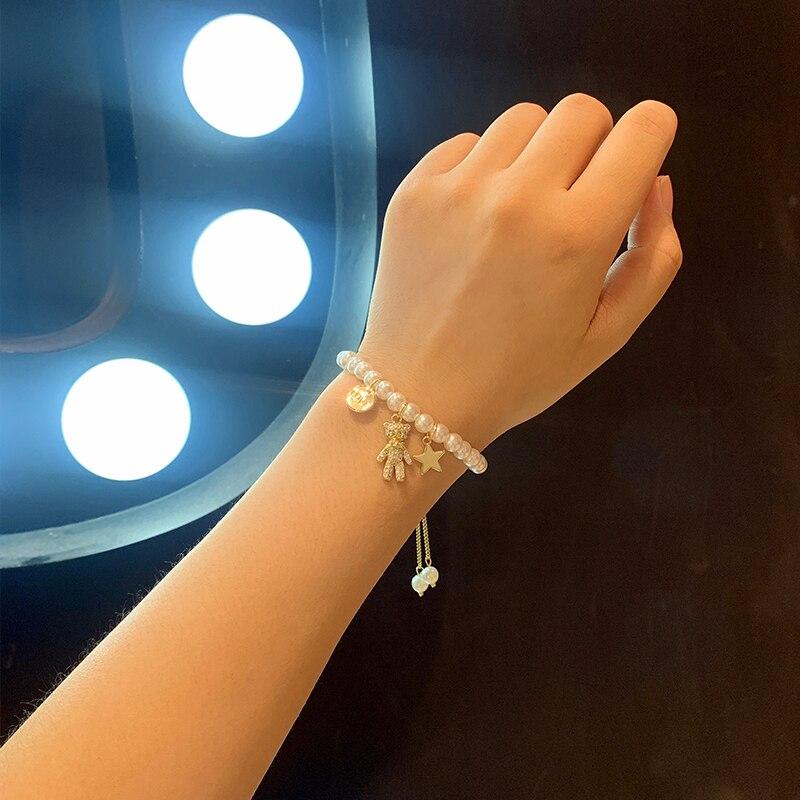 Cute with Diamonds Bear Pearl Bracelet Female 2020 New Beads Beaded Pendant Bracelet Special-Interes
