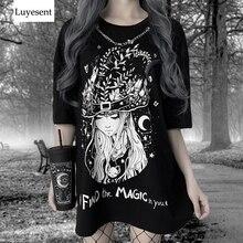 Noir foncé Goth femme longue T-shirts 2020 dame sorcière dessin animé impression oeillet chaînes Hipster t-shirt gothique Punk Cool basique robe haut