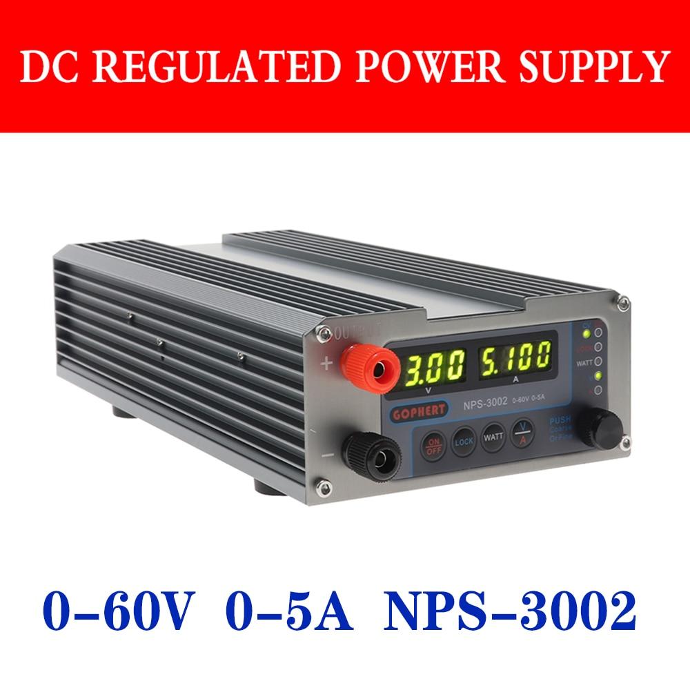 GOPHERT NPS-3002 Hohe Präzision MCU PFC Kompakte Digital Einstellbare Dc-netzteil OVP/OCP/OTP Labor Netzteil 60V 5A