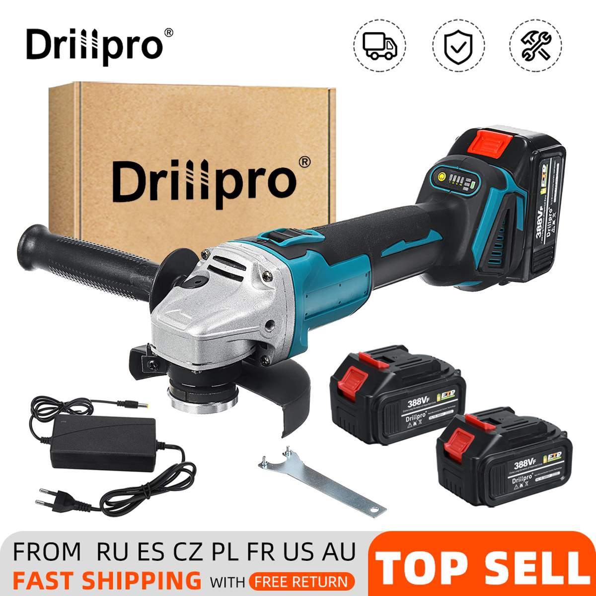 Drillpro 125 مللي متر فرش طاحونة بزاوية كهربائية 4 سرعة قطع آلة أداة السلطة + ليثيوم أيون بطارية لماتيكا بطارية 18 فولت