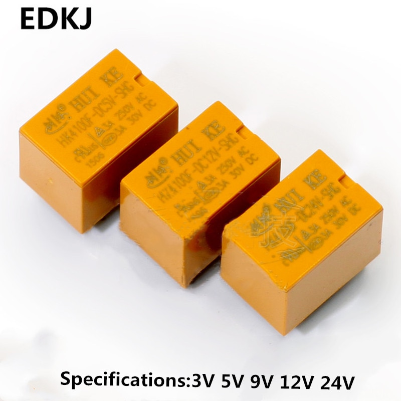 5PCS/LOT HK4100f-DC12V-SHG Relay hk4100F-DC3V 5V 9V 12V 24V HK4100F 12 V DIP6 3A 250V AC/ 3A 30V DC