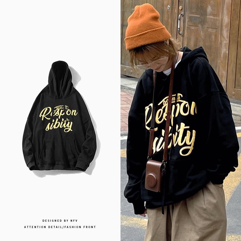 Уличная одежда в стиле Харадзюку Y2K, толстовки в стиле High Street с буквенным принтом, Повседневный пуловер, толстовки, женская одежда для осени ...
