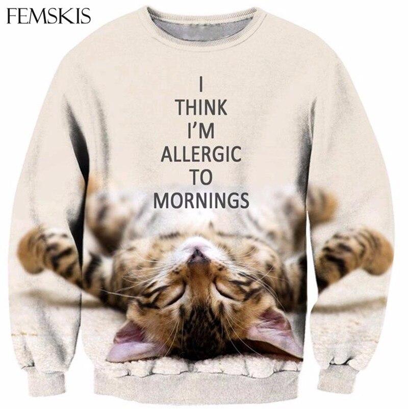 FEMSKIS Новая мода животных милый кот для мужчин женщин 3D Толстовка с принтом Harajuku забавная одежда унисекс повседневные толстовки с длинным ру...