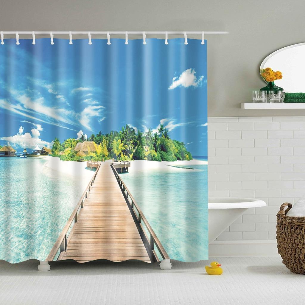 Cortina de baño moderna con estampado de paisaje para playa y mar, Cortina de ducha azul para baño, cortina de ducha Blackout 3D grande de 180x200cm para Baño