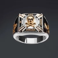hip hop fashion trend retro gold plated two tone skull dripping ring square jewelry punk style party jewelry