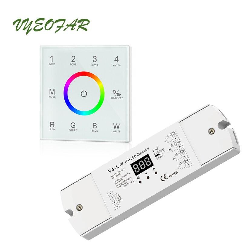 Новый настенный сенсорный светодиодный контроллер RGBW 100 V-240 V 4 Zone 2,4 GHz RF пульт дистанционного управления 220V Led rgbw контроллер полосы T14 и V4