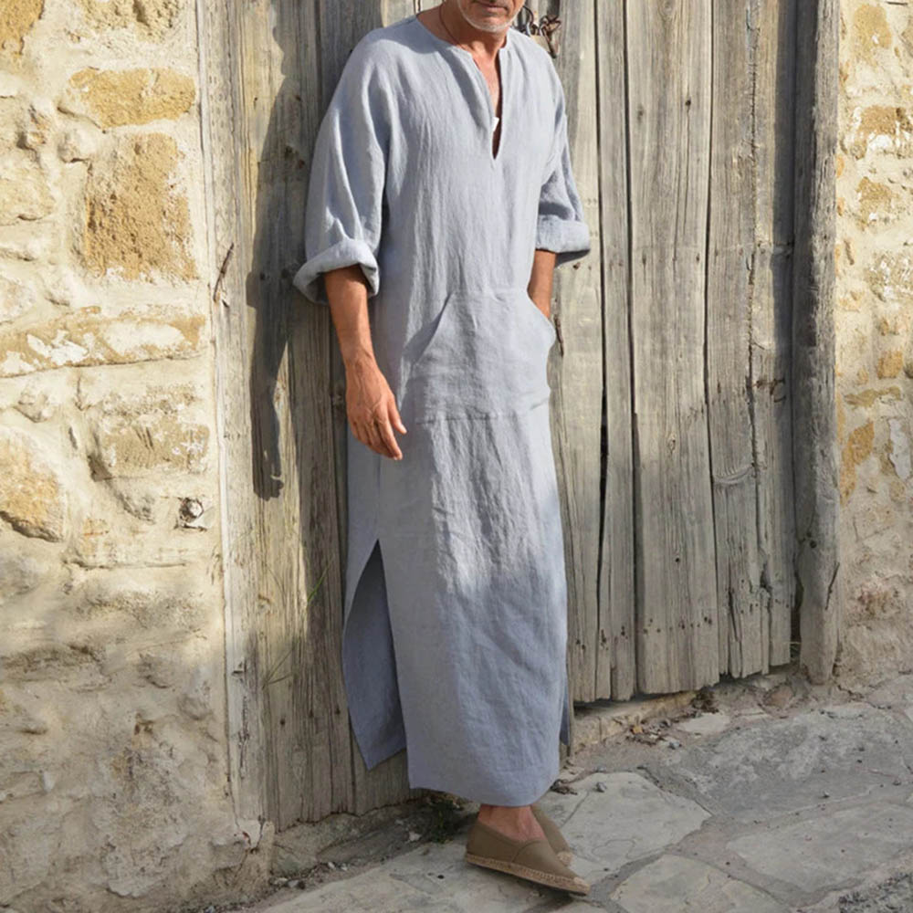 Men Cotton Linen Big T-shirt Middle East Long Robe Loose Casual 2021 Summer Fashion Simple Clothing For Male Young Muslim New
