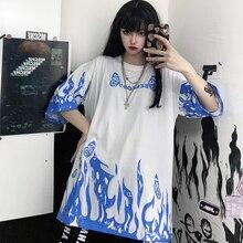 Harajuku Flame Print T-shirt Female Loose Round Neck Short Sleeve Tops Summer Tees Women Cartoon Animal T-shirt Man T-shirt