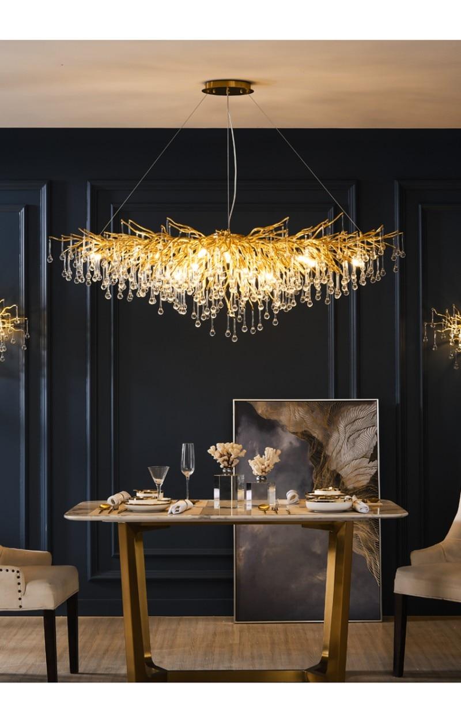 Lámpara colgante de cristal dorado de lujo con diseño de gota de agua de estilo nórdico de azulejo grande arañas LED LOFT Villa para sala de estar Hotel