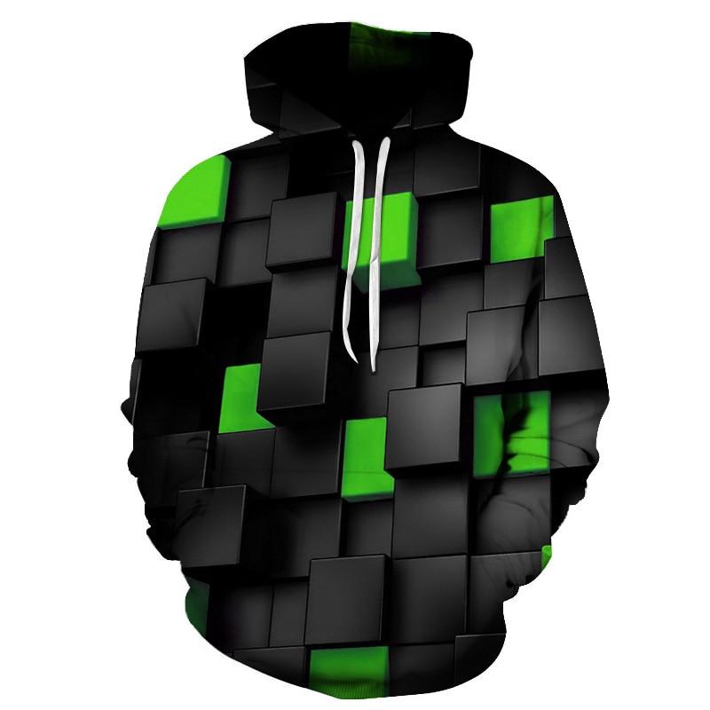 2021 Cool Black Green Check Men/Women 3D Sweatshirts Print Milk Space Galaxy Hooded Hoodies Unisex Tops Harajuku Pullover Pocket