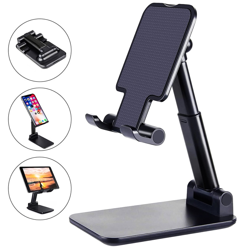 Soporte Plegable Para Telefono Movil De Escritorio De Metal Extensible Y Ajustable...