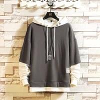 5xl skateboard hoodies sweatshirts mens casual spring autumn black clothes hip hop patchwork streetwear plus sise
