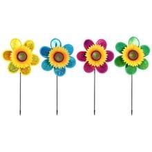 4 Pcs Sunflower Lawn Pinwheels Wind Spinners Garden Party Pinwheel Flower Windmill for Home Patio Ya