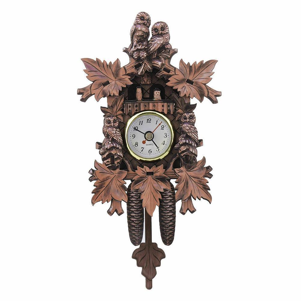 Retro Bird Design Decorative Wall Clock Living Room Vintage Clock Cuckoo Pendulum Hanging Wood Q5F1