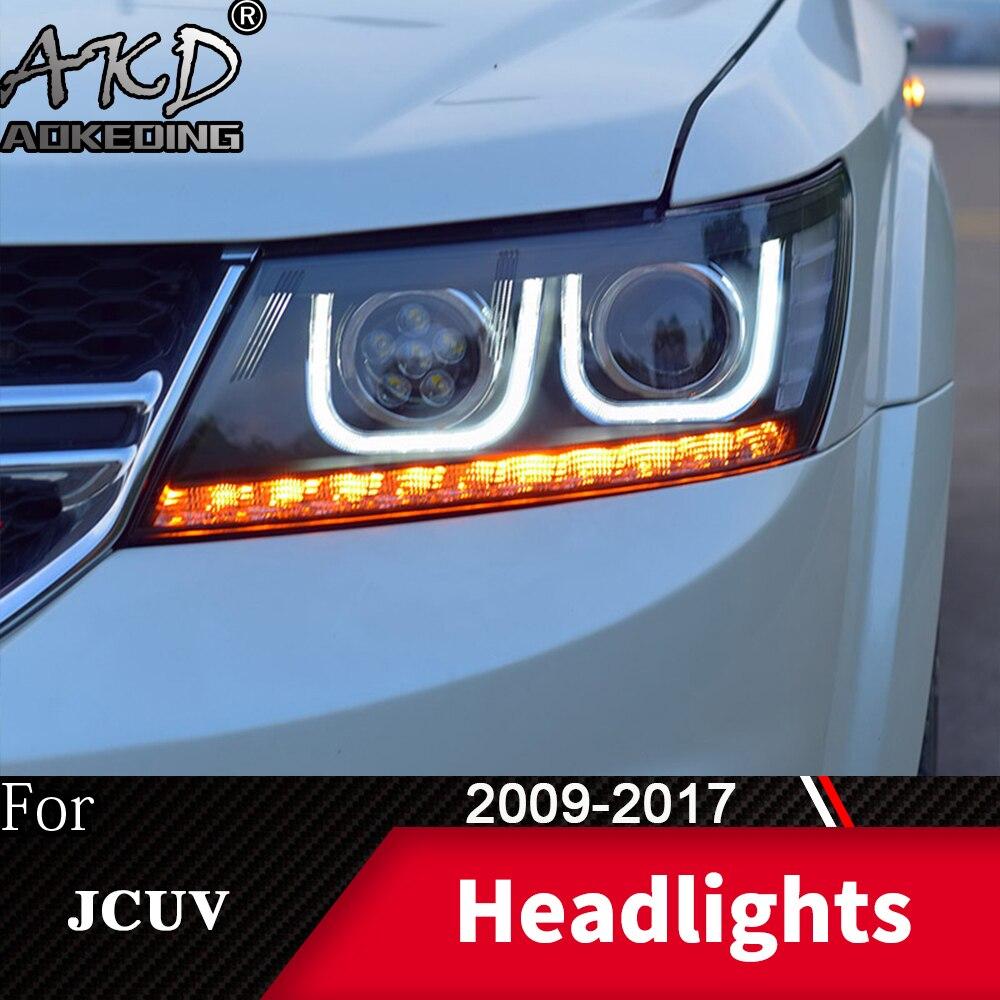 Head Lamp For Car Dodge JCUV 2009-2017 Journey Headlights Fog Lights Day Running Light DRL H7 LED Bi Xenon Bulb Car Accessory