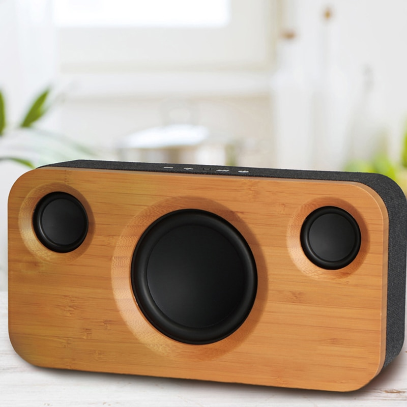 25W Bluetooth Speakers,Dual-Driver Wireless Bluetooth Home Bamboo Wood Stereo Speaker,Long  For Echo Dot, enlarge