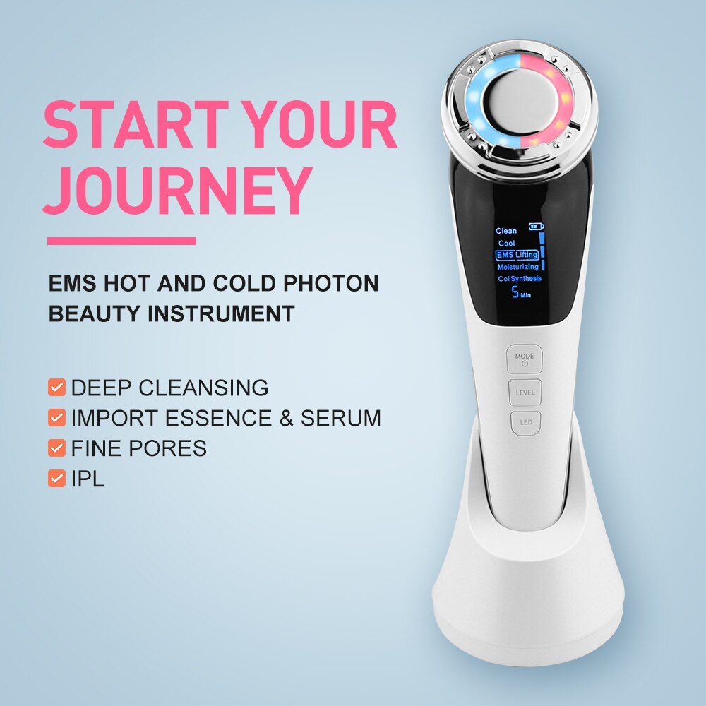 EMS Facial Massager Micro Current Beauty Face Massager Sonic Vibration Wrinkle Remover Hot Cool Ultrasonic Face Lifting Device enlarge