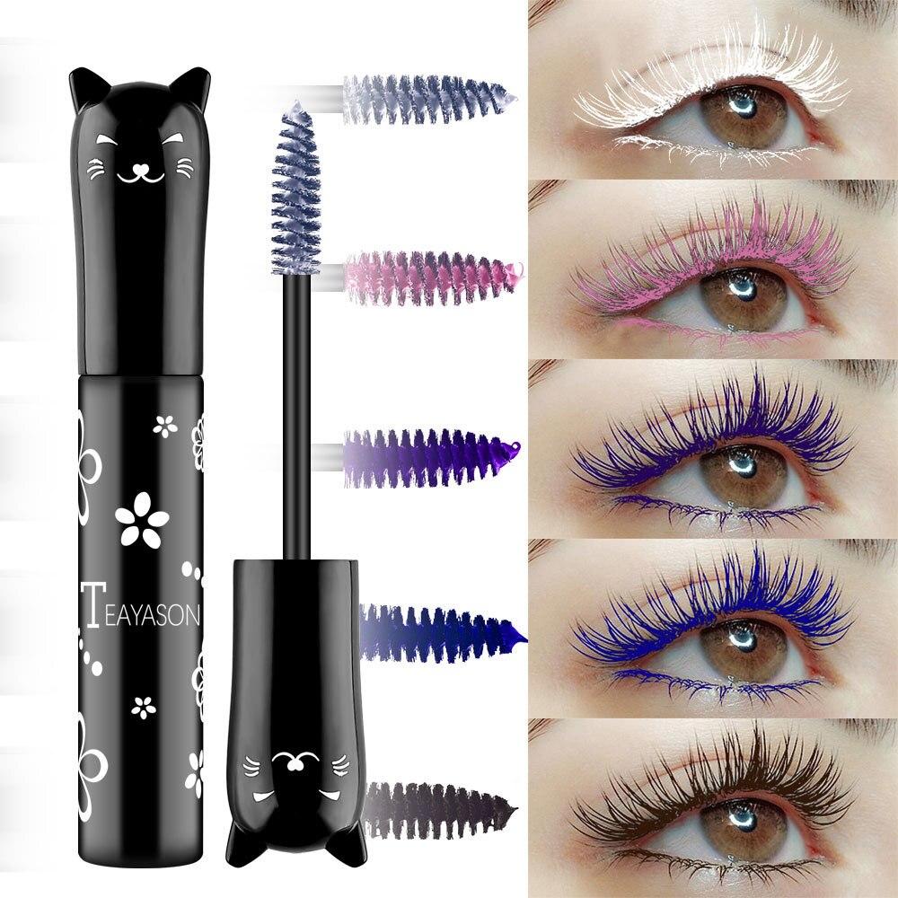 Rímel de cor impermeável rápido seco cílios ondulação alongamento maquiagem cílios de olho branco rosa puple azul preto tinta de café rímel