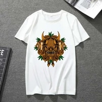 white t shirt mens and womens short sleeved monster pattern printing series japanese casual all match soft and breathable top