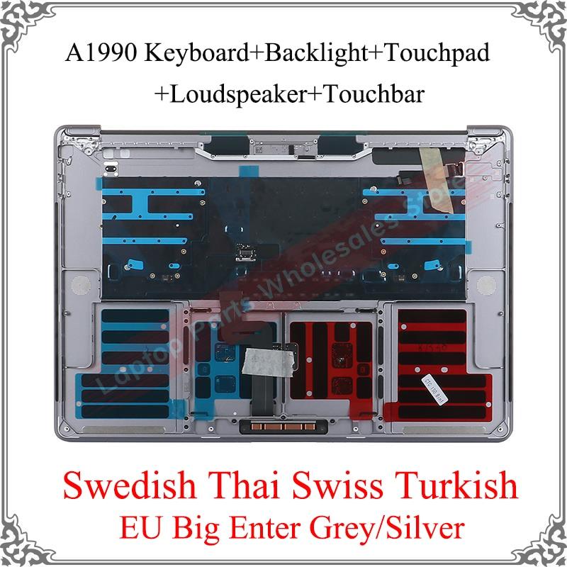 الأصلي الجديد فضي رمادي السويدية التايلاندية السويسرية التركية لماك بوك برو A1990 أفضل لوحة المفاتيح لوحة المفاتيح لوحة المفاتيح مكبر الصوت ل...