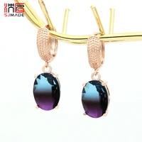 sjmade europe america vintage egg shape oval imitation tourmaline dangle earrings 585 rose gold for women girls wedding jewelry