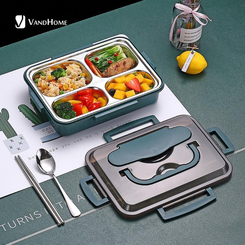 VandHome-صندوق غداء ياباني للأطفال ، صندوق غداء بينتو من الفولاذ المقاوم للصدأ 18/8 مع مقصورات ، أدوات مائدة المطبخ ، حاوية تخزين الطعام