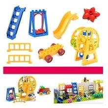 Büyük boy blokları aksesuarları oyuncaklar uyumlu Duploed tuğla DIY yapı tuğlaları dönme dolap tahterevalli için çocuk çocuk hediye