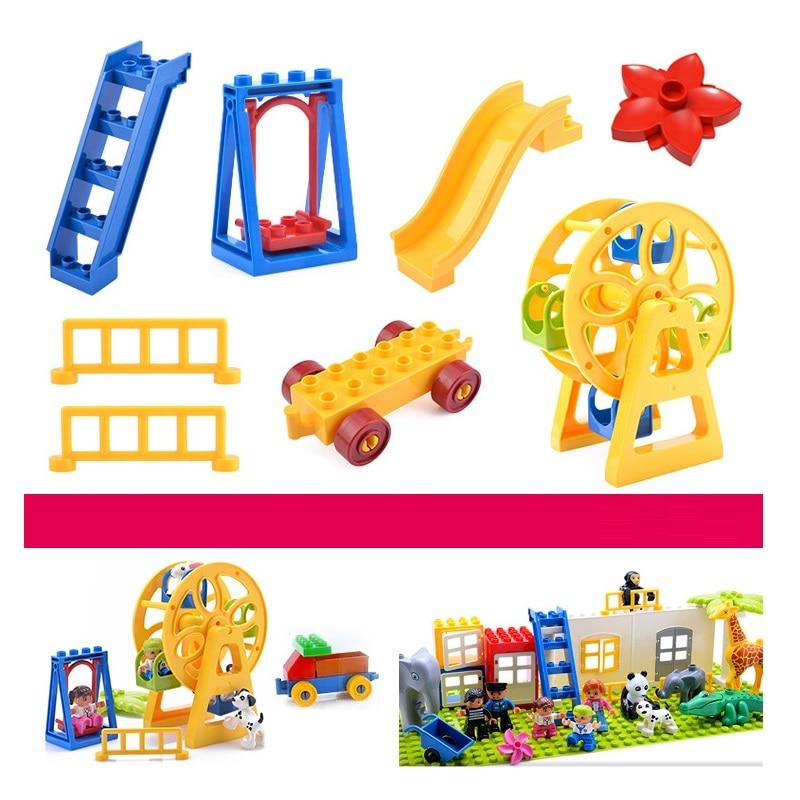 Tamanho grande blocos acessórios brinquedos compatíveis duploed tijolo diy tijolos de construção roda gigante peças gangorra para crianças presente