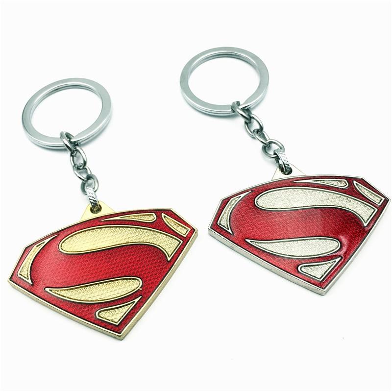 10 unids/lote llavero de Supermán, llavero de Metal con colgante de Anime, llavero de hombre para regalo, llavero de coche, joyería de película, recuerdo, venta al por mayor