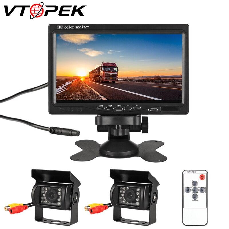 VTOPEK 7 дюймов Автомобильный монитор заднего вида, для автомобиля Image18 Инфракрасная подсветка заднего вида Камера 12-24V для грузовиков шины авт...
