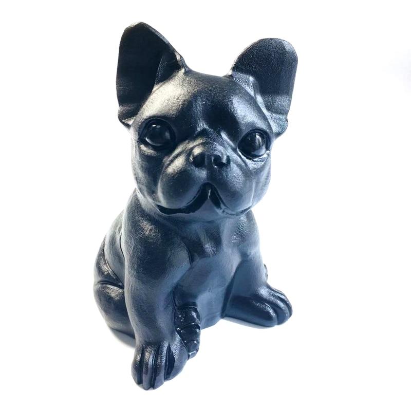 Estatuilla de Bulldog Francés Natural tallada en obsidiana negra cristal curativo regalo ornamental para decoración del hogar Fengshui arte suerte