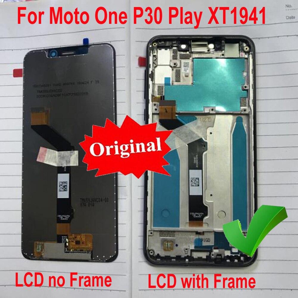 Original mejor pantalla LCD Panel táctil digitalizador montaje Sensor + marco para Motorola Moto One/P30 Play P30Play XT1941