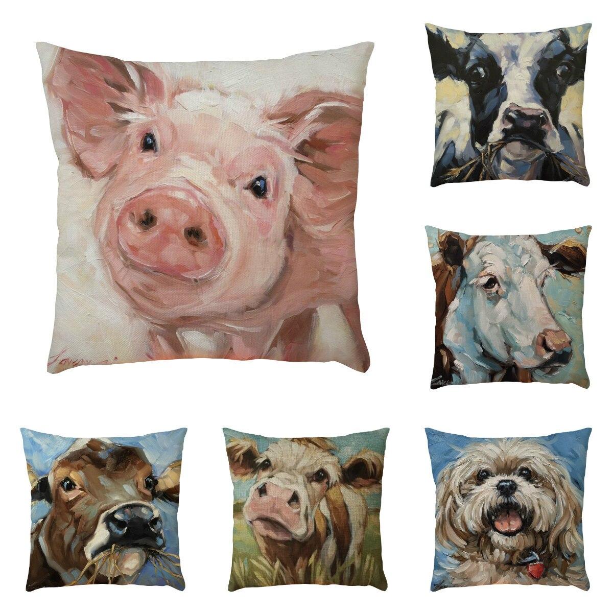 45cm * 45cm patrón Animal funda de cojín sofá hogar coche decoración Super claro granja viento vaca patrón funda de almohada decorativa