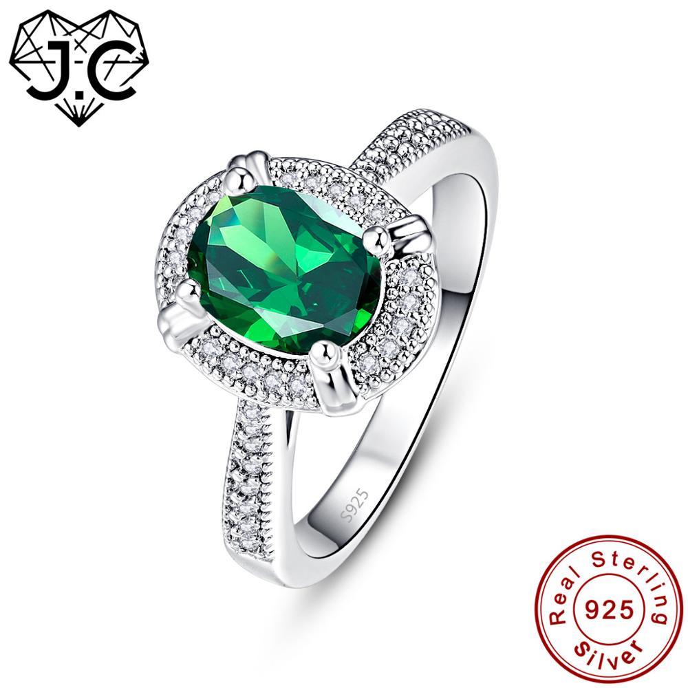 J. C corte ovalado rubí zafiro Esmeralda 925 anillo de plata de ley tamaño 6 7 8 9 mujeres boda exquisita joyería fina regalo