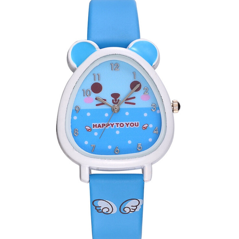 Children Watch Cute Animal Print Dial Quartz Watch Leather Band Watch uhr kinder montre enfanthorloge jongens zegarek lego #L0