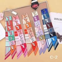 2021 spring summer new pattern strip print lady silk riband bags scarf small ribbon bandage wrapped hair band hair accessories