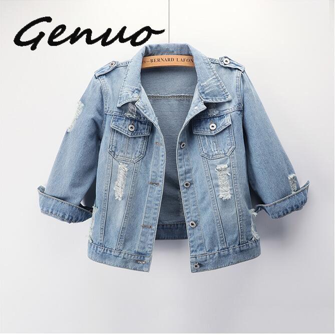De talla grande blanco azul bombardero Chaquetas cortas de mezclilla 4XL 5XL Streetwear estiramiento Jeans chaqueta Casual chaqueta de mezclilla chaqueta femenina