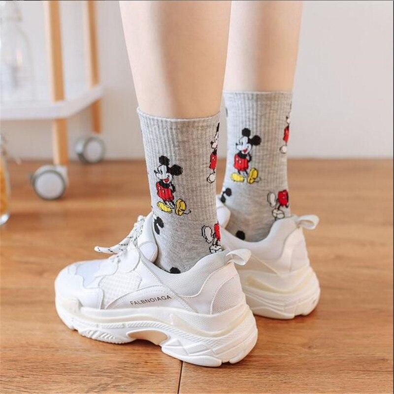 Korean Style Mickey Socks Fashion Novelty Warm Cartoon Mouse Socks Wild Comfortable Breathable Cotton Sokken Dropshopping 2019