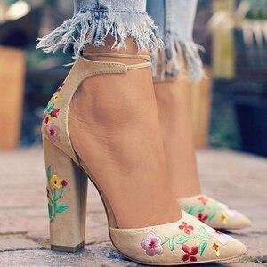 Shoes Woman High Heels Pumps Buckle Strap Women Embroidery Shoes High Heels Wedding Shoes Pumps Black Nude Shoes Heels