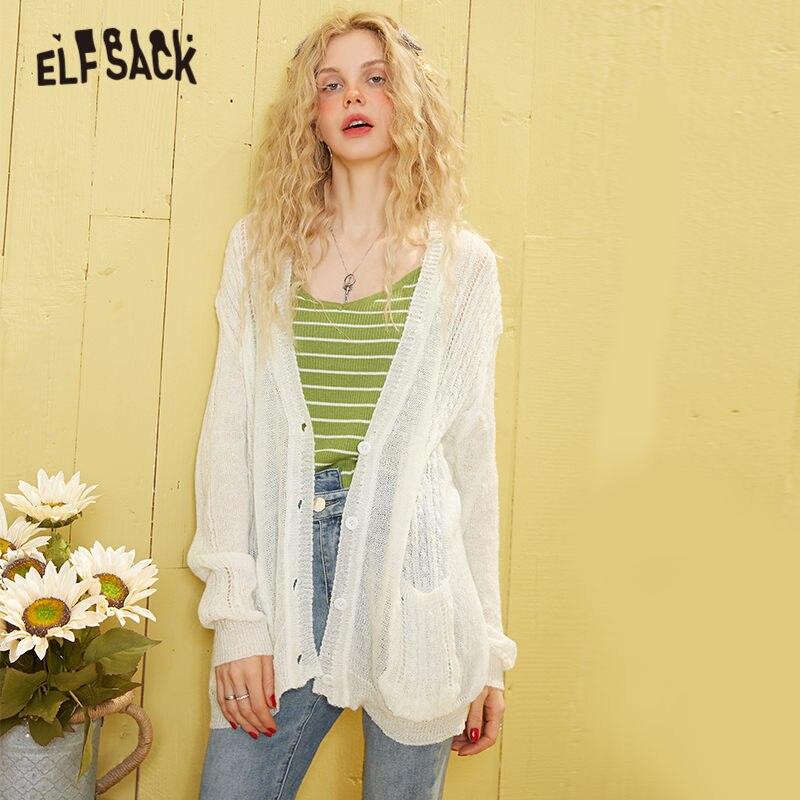 ELFSACK blanco sólido minimalista tejido angora Casual suéter Rebeca para mujeres 2020 primavera solo botón de manga larga coreana Girly Top